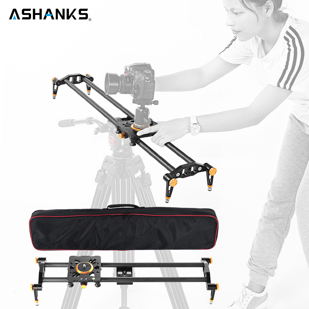 ASHANKS 31.5/80cm Carbon Fiber Camera Track Dolly Slider Rail System with 33lb/15kg Load for Photography DSLR Nikon Canon Sony ashanks 80cm 6 bearings carbon fiber slider dslr camera dv track slide