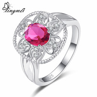 Lingmei New Arrival Cluster Flower Style Red & Sea blue CZ Silver 925 Ring Size 6 7 8 9 Jewelry For Women Engagement Bridal Ring