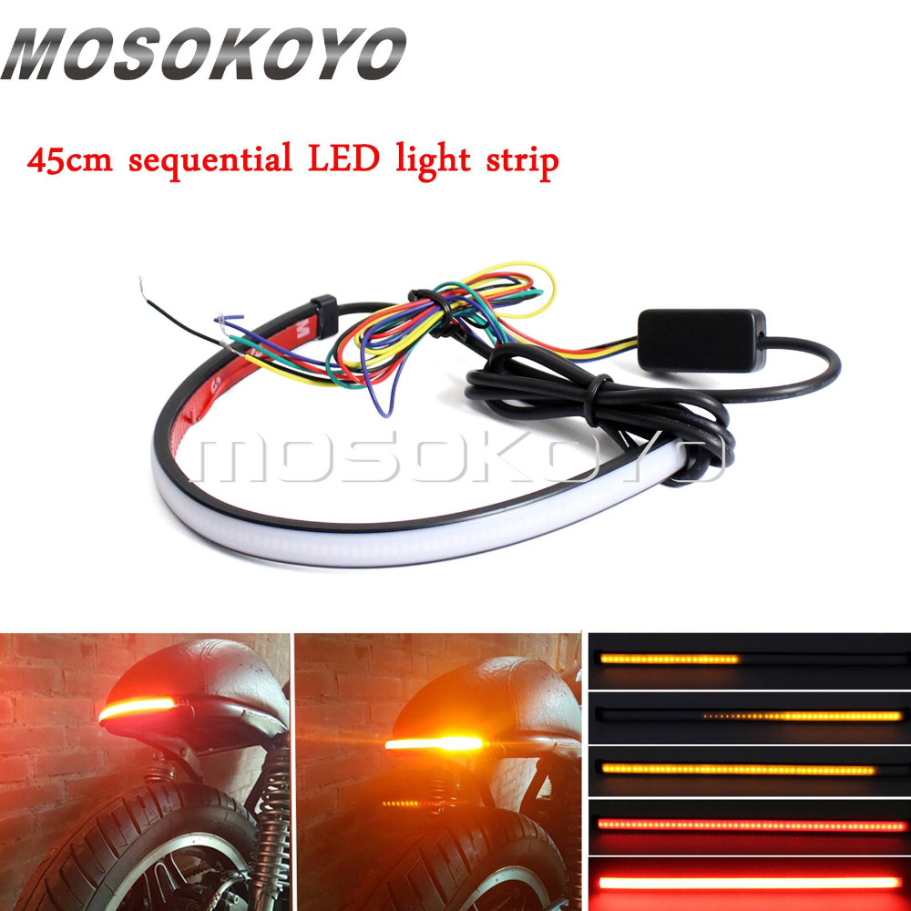 medium resolution of motorcycle red amber led 45cm sequential switchback flowing tail brake light running turn signal light strip on aliexpress com alibaba group