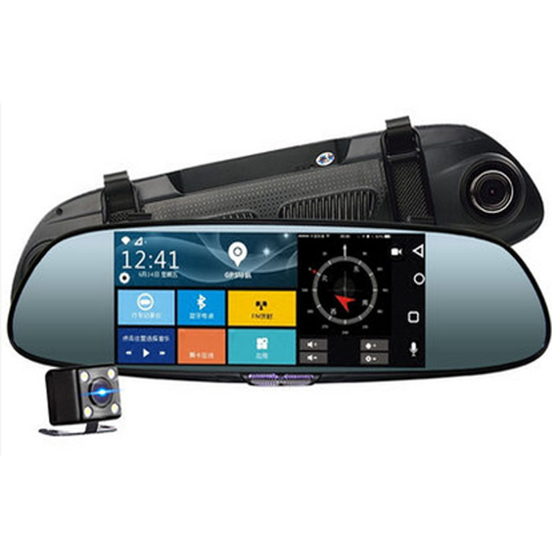 7 Dash Camera Car DVR Screen Rear View Mirror Double Lens Intelligent Navigation Electronic Dog Driving Recorder