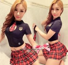2016 hot sexy lingerie wind students teachers lingerie women's uniform temptation suit lovely tartan miniskirt costume