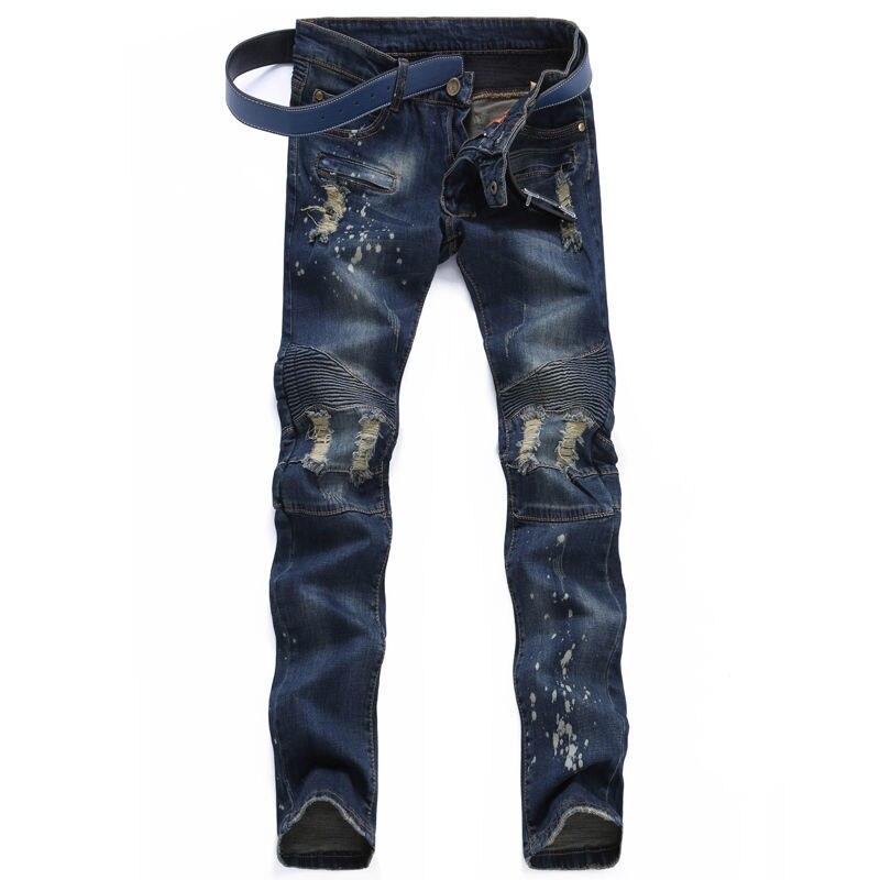 ФОТО Men Jeans Ripped Biker Hole Denim robin patch Harem Straight punk rock slim embroidery jeans for men Pants