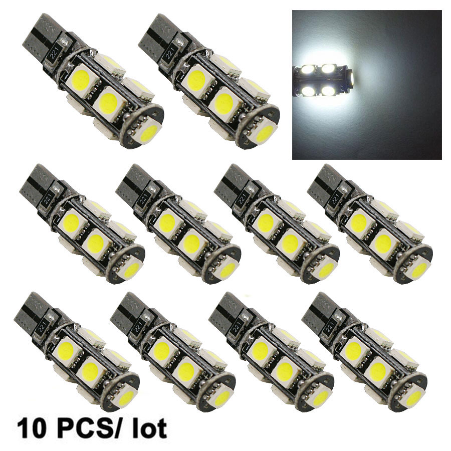 T10 Led Lights 5050 9 SMD CANBUS DC 12V Error Free 194 168 192 W5W H6 Car LED Light Interior Bulbs Wedge Lamp White New 10pcs 100pcs lot t10 9smd 5050 9 smd 9led car 194 168 192 led t10 w5w led white 9 led light automobile bulbs lamp wedge interior light