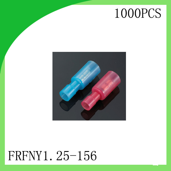 Brass 1000 PCS FRFNY1.25-156 FRFNY Female White/Red/Blue cold-pressed terminal Connectors and Splices For 0.3-2.5mm2,24-14 AWG
