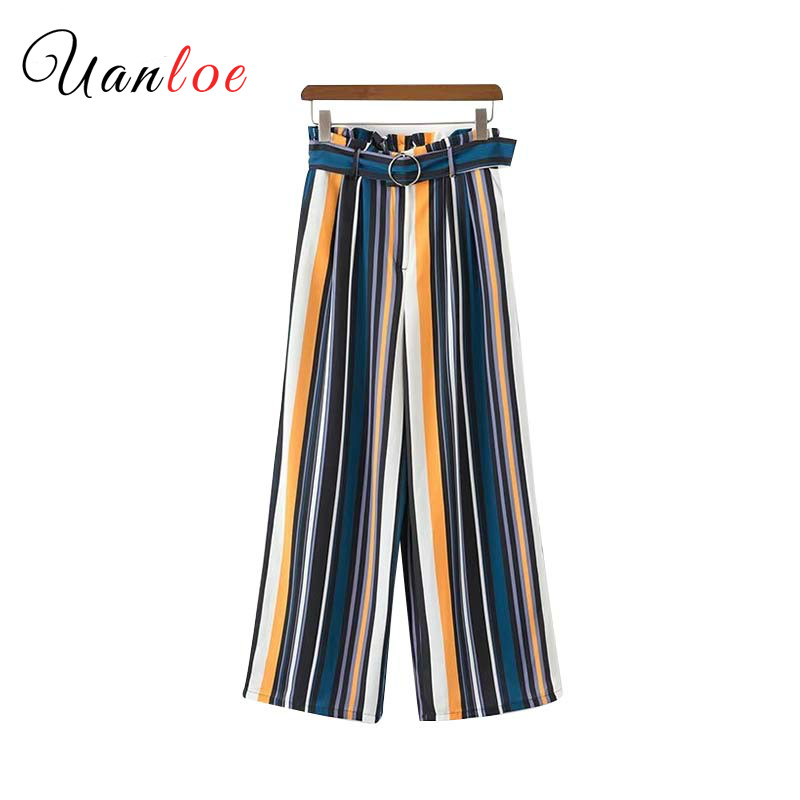 Vintage Color Striped Wide Leg Pants Sashes Elastic Waist Pockets Retro Ladies Casual Ankle Length Trousers Mujer
