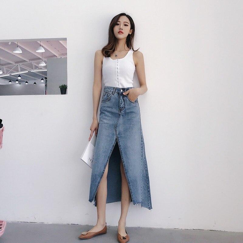 EXOTAO Irregular Mid Long Saia Feminina Cintura Alta High Split Chic A-Line Jeans Skirt Sexy Stretch Denim Skirts 2018 Vintage