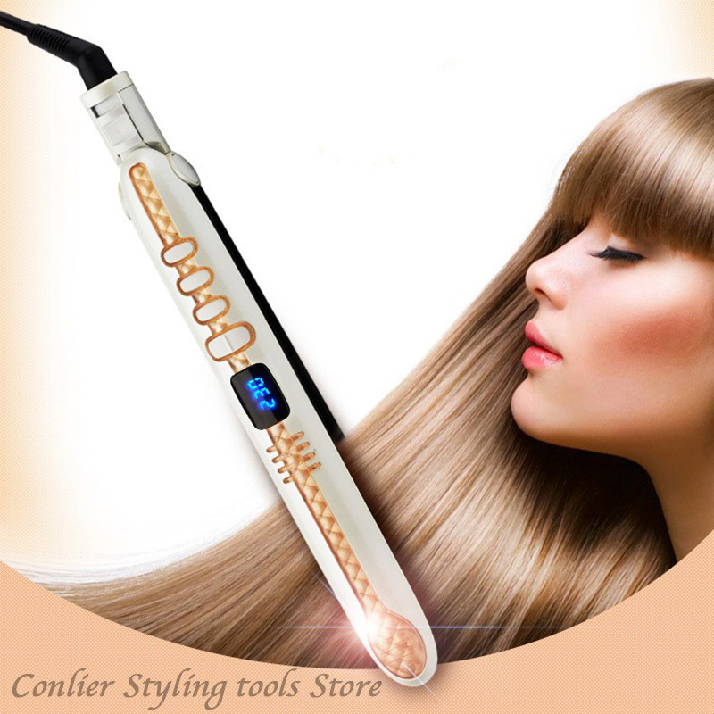 Professional Electronic LCD Hair Straightener Irons Adjustable Temperature Portable Ceramic Flat Straightening Styling Tools