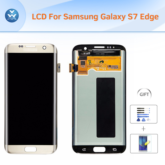 "Melhor lcd para samsung galaxy s7 edge g935 original display lcd touch screen digitador black white gold 5.5 ""+ ferramentas + vidro curvo"