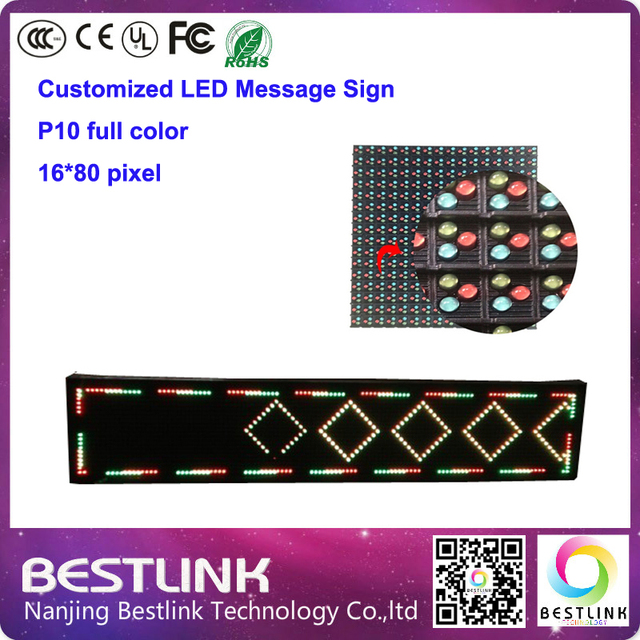 p10 outdoor rgb led display led screen board message sign 16*80 Pixel programmable led outdoor door sign diy led electronic sign
