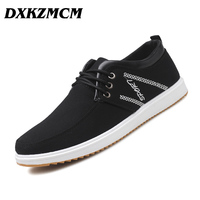 DXKZMCM 2018 Breathable Canvas Men Shoes Lace Up Solid Flats Spring Autumn Quality Casual Shoes For