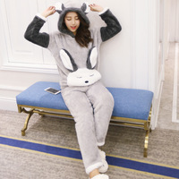 Autumn And Winter Women Pyjamas Sets Animal Pink Thick Warm Coral Velvet Suit Flannel Long Sleeve