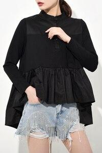 Image 3 - [EAM] blusa larga holgado y plisado con cuello levantado para primavera y otoño, Camisa larga asimétrico con Espalda descubierta, 2020