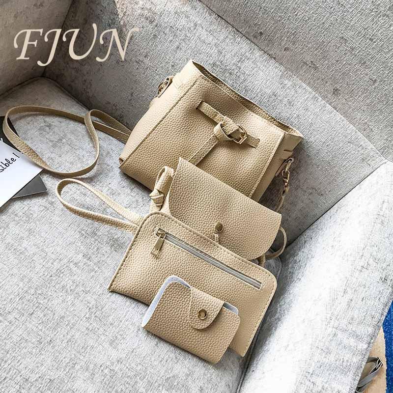 FJUN 2018 Fashion 4pcs/set Women Composite Bags Casual Tote Female Bolsas Women Messenger Bag Handbag Set PU Leather Bucket Bags
