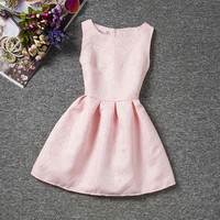 Summer Sleeveless Girls Dress 12 Year Solid Floral Pattern Kids Children Teenagers Party Gowns Vest Vestido