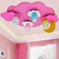 Meninas quarto madeira lâmpada led 110 V-220 V E27 Led teto luzes do quarto americanos estilo retro Acrílico rainbow lustres de teto