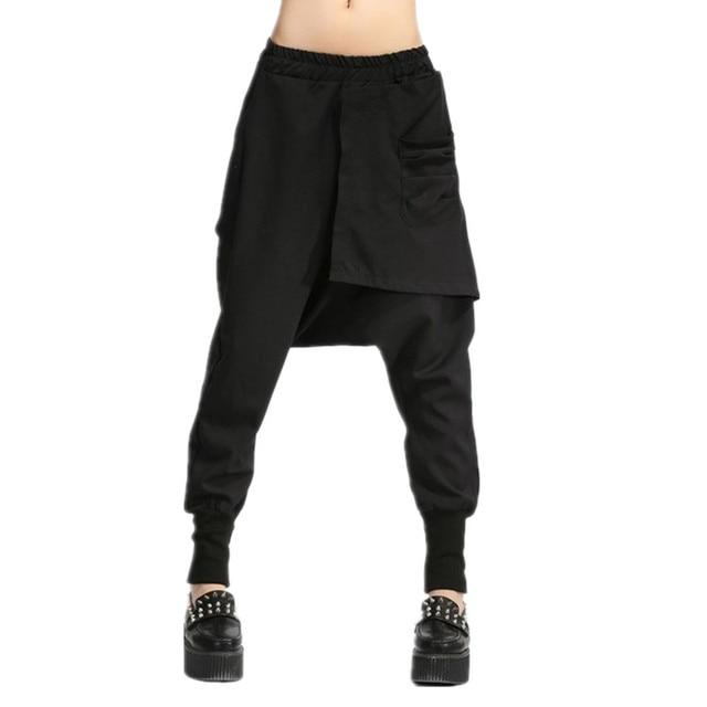 a156ec32d78d4 Autumn Women Drop Crotch Baggy Pants Hip Hop Patchwork Harem Pants Solid  Elastic Waist Pencil Trousers