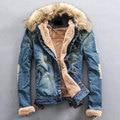 O Envio gratuito de 2017 Top Venda Homens Marca Jaqueta Jeans Masculina de Inverno Homem Jeans Casaco Gola de pele de Lã Grossa Outwear Algodão Com Capuz lxy295