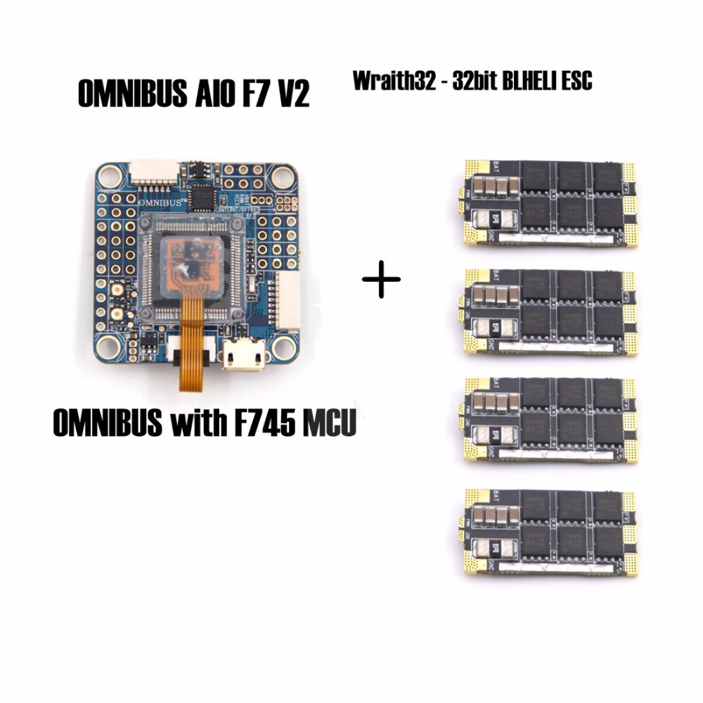 OMNIBUS AIO F7 V2 Flight Controller Board and 4 pieces Wraith32 - 32bit BLHELI ESC for FPV quadcopter drone frame omnibus f303 b6 v2 f3 flight controller replace integrate osd hub fpv section board for airframe quadcopter multicopter rc drone