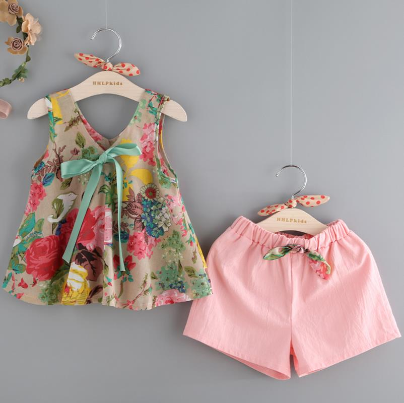 Bear Leader Grils Clothes 2017 Fashion Summer Style Girl Clothing Sets Sleeveless Floral Print Design Vest+Shorts for Kids Suit bear leader girls dress 2016 brand princess dress kids clothes sleeveless red rose print design for grils more style clothes