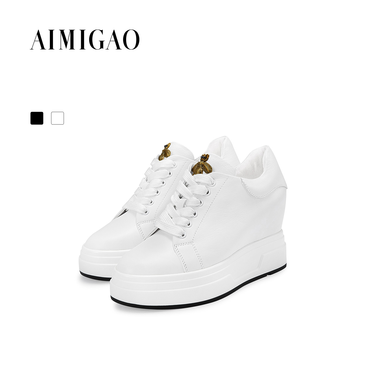 AIMIGAO Leather Shoes Handmade Luxury Brand Feminino Sapato Women Casual White Shoes Increased height women sneakers 2017 Autumn pinsen 2018 women leather shoes handmade luxury brand tenis feminino sapato women casual shoes basket femme air superstar shoes