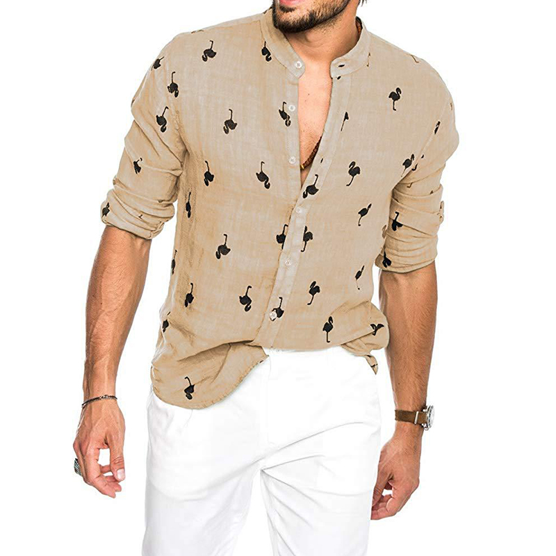 Image 2 - Newest Mens Fashion Casual Printed Flamingo Shirts Cotton Slim Fit Button Placket Korean Collar Long Sleeve Male Social Business-in Casual Shirts from Men's Clothing