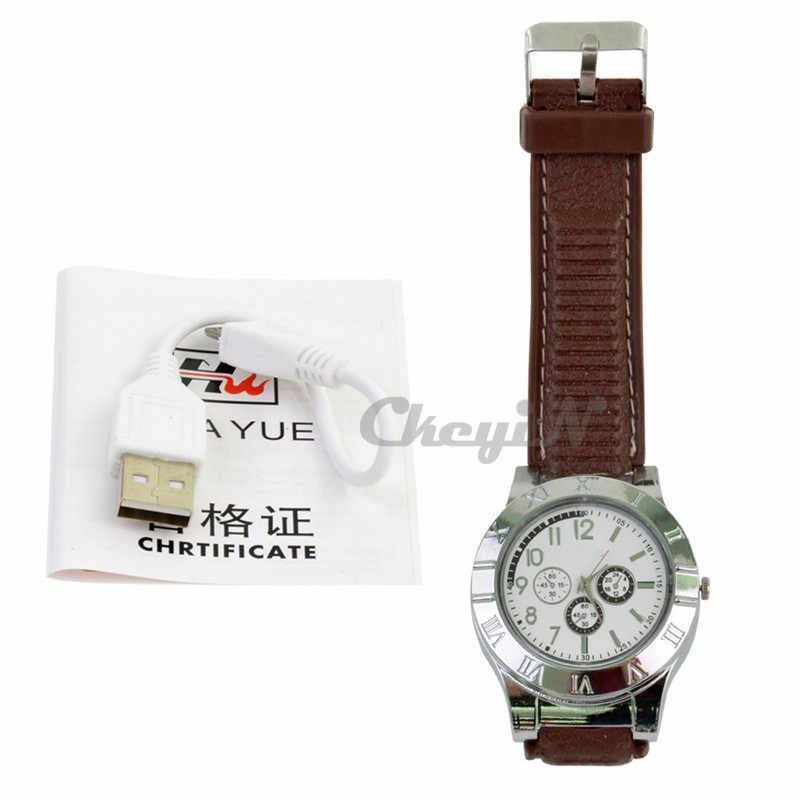1pcs מצית שעון גברים של צבאי USB טעינה F665 חם ספורט מקרית קוורץ שעוני יד Windproof Flameless מצית