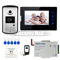 "Chuangkesafe . Wired 7"" Touch Screen Video Door Phone Intercom System 1 Monitor + Waterproof RFID Access Camera 12V Power Supply"