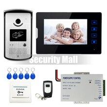 """Chuangkesafe. con conexión de cable 7 """"Pantalla Táctil Video de La Puerta Teléfono Sistema de Intercomunicación 1 Monitor + Cámara de Acceso RFID A Prueba de agua 12 V Potencia suministro"""
