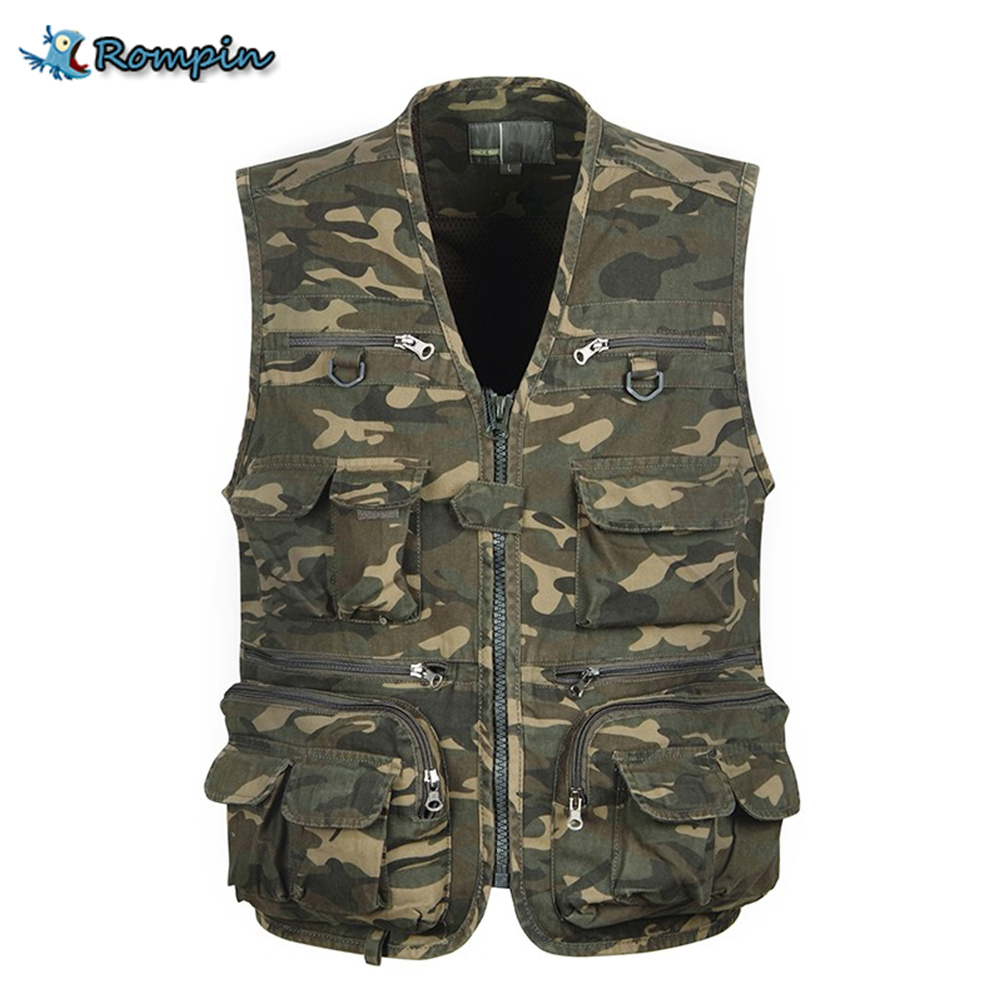 ФОТО Rompin big size Fishing Vest Outdoor Sleeveless Jackets Coats Camping Fishing camouflage army Vests Mulit pocket fly Sea Fishing
