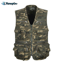 Rompin big size Fishing Vest Outdoor Sleeveless Jackets Coats Camping Fishing camouflage army Vests Mulit pocket fly Sea Fishing