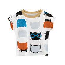 Cartoon Print Baby Boys Animal T Shirt For Summer Infant Kids Boys Girls Cat T-Shirts Clothes Cotton Toddler Letter Tops недорого