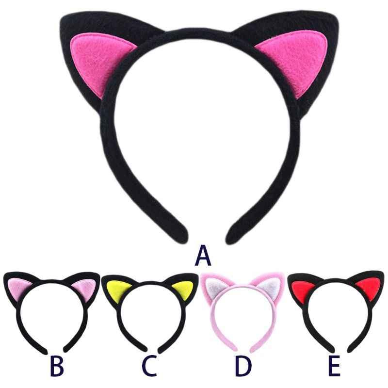 ผู้ใหญ่เด็กตุ๊กตาผ้าห่อผม Hoop น่ารัก 3D ชี้ Fox แมวหูแถบคาดศีรษะความคมชัดสีปัก Party
