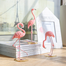 resin pink 3d flamingos decoration cute animal home decoration craft desktop decoration creative birthday party