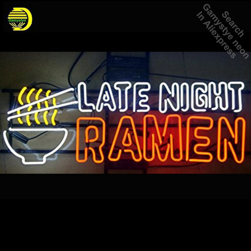 Late Night Ramen Neon Sign Bulb neon signs for sale Real Glass Tube Handcrafted Restaura ...