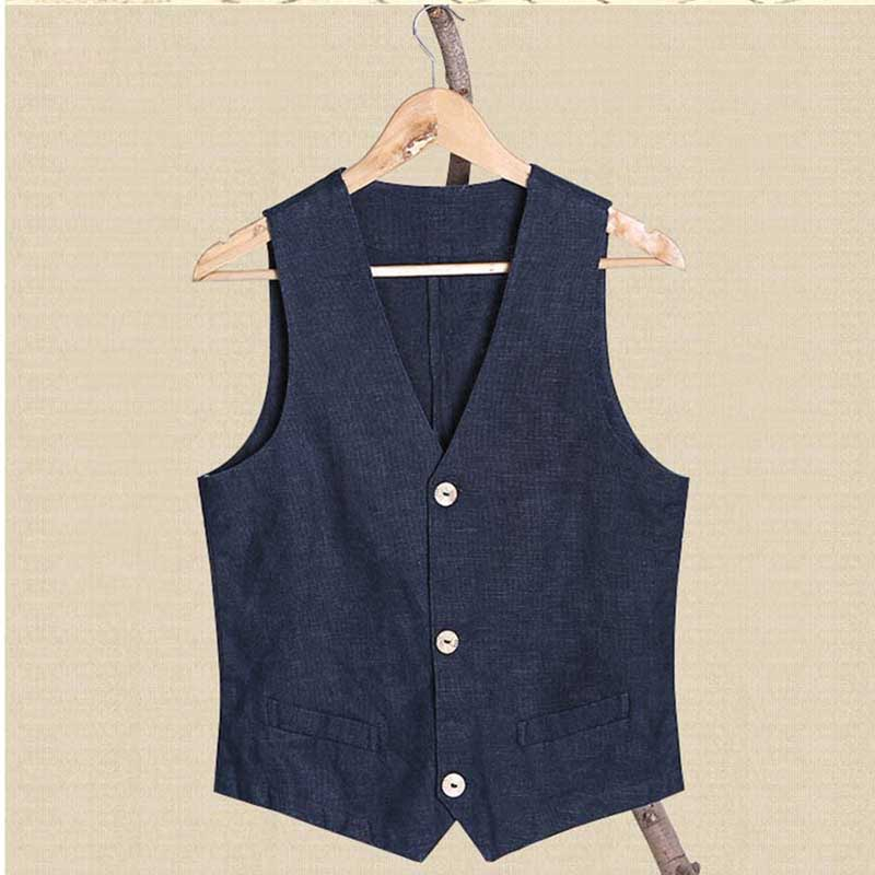 Summer Linen Slimming Vest Literature and Art Men Casual Thin Vest Sleeveless Jacket Waistcoat Male Clothing Plus Size S-4XL image