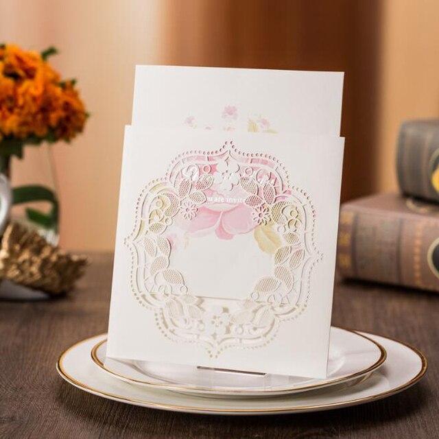 (50 Teile/los) Empfindliche Geschnitzte Blumen Romantische Hochzeit  Einladungskarte Mit Umschlag Einladung Für