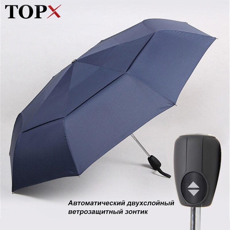 더블 우산 비 여자 완전 자동 3 폴딩 남자에 대 한 고품질 방풍 우산 비즈니스 광고 선물 우산