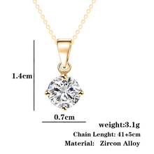 Simple Fashion Silver and Gold Color Round Shape CZ Cubic Zirconia Pendant Necklace for Women