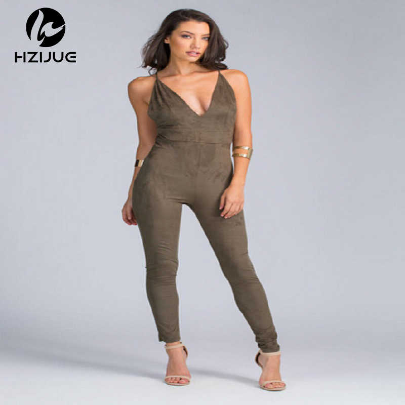 53415e81fff Sleeveless Elegant Jumpsuit Fashion Bodycon Deep V neck Halter Cross Suede  Sexy Club Jumpsuits and Rompers