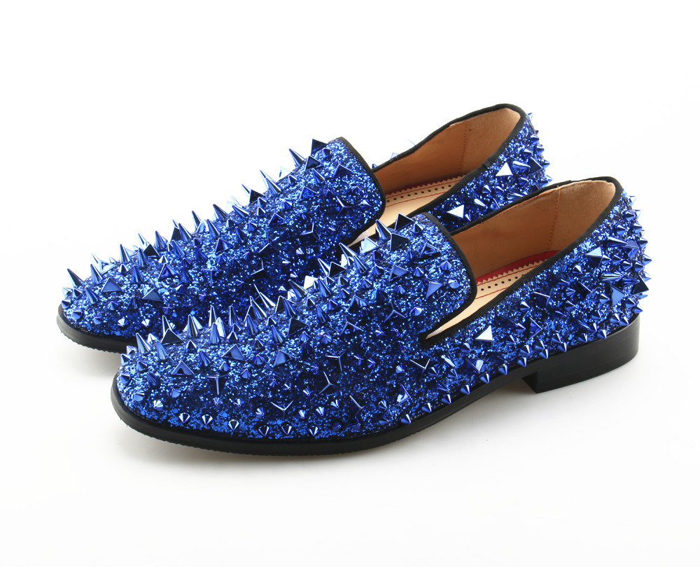Bling Sequin Spike Rivets Men Loafers Blue Casual Dress PU Leather Shoes Solid Luxury Prom Party Shoes High Quality Plus Size plus size sleeveless sequin panel belted dress