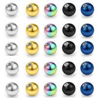 10 peças mix cores de aço inoxidável substituição bolas grânulo lábio sobrancelha língua orelha tragus barriga corpo piercing jóias 14g/16g