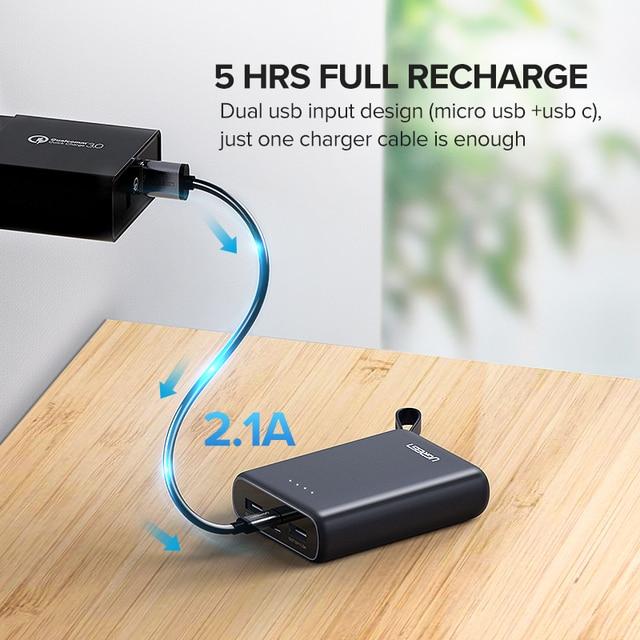 Ugreen Mini Power Bank 10000mAh Ultra Slim PoverBank for Samsung S9 S8 Dual USB Powerbank External Battery Pack Portable Charger 3