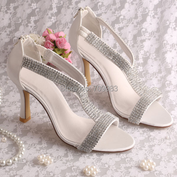 45c13b29d15 (20 Colors)Custom Luxury High Heels Women Crystal Sandals Bridal Wedding  Ivory Satin with Zipper FREE SHIPPING