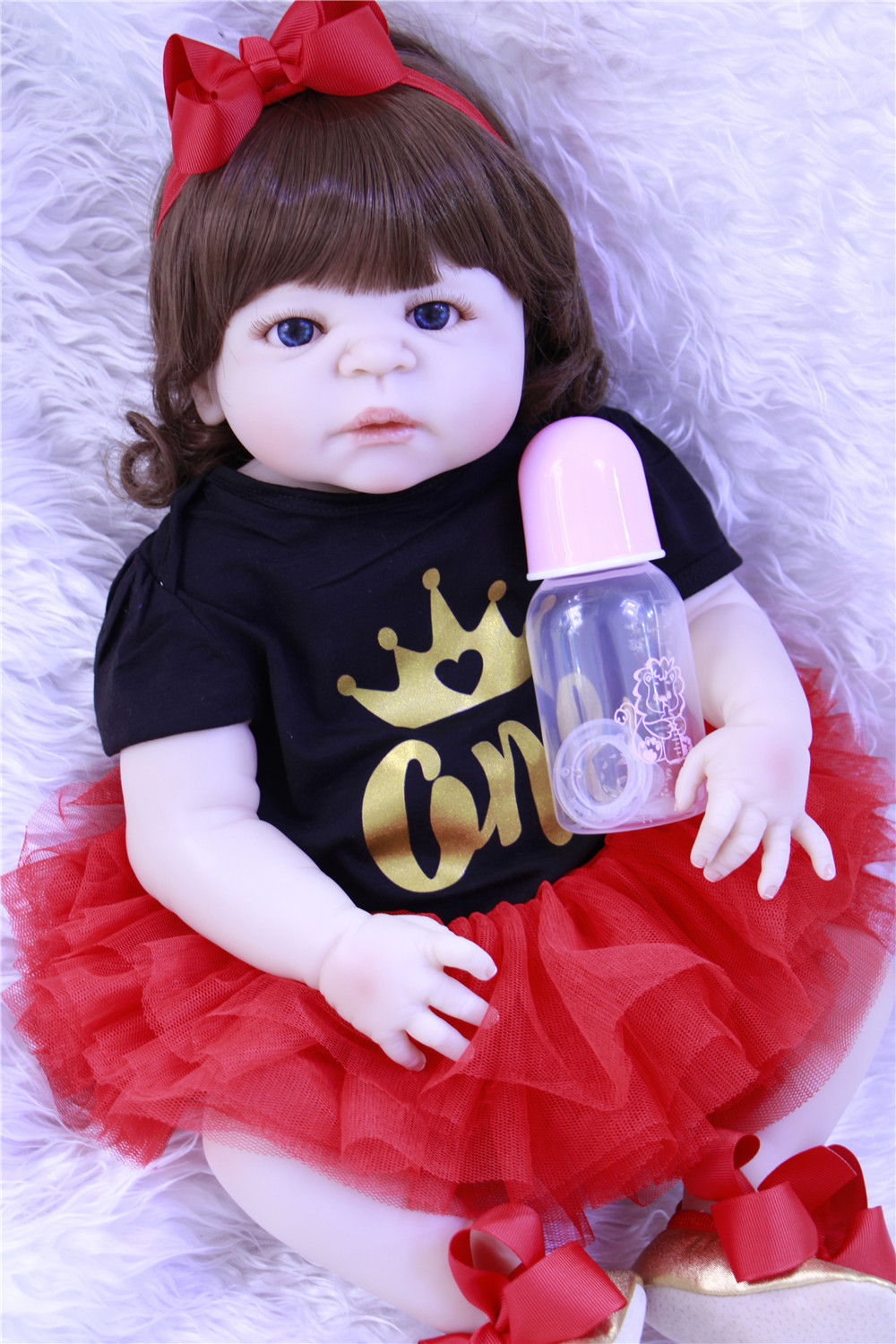 23 Reborn dolls full body silicone reborn babies red dress curly hair realistic girl alive bebe