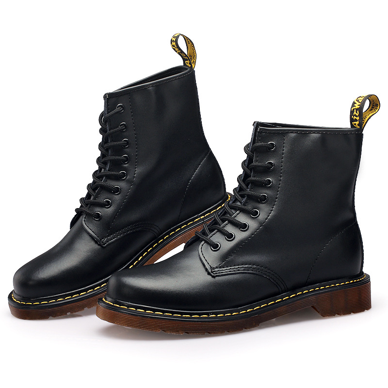 Los Zapatos Botas Dr rojo Hombres De marrón Martin 1460 Genuino El Negro Básicos Cuero XaHwCqw