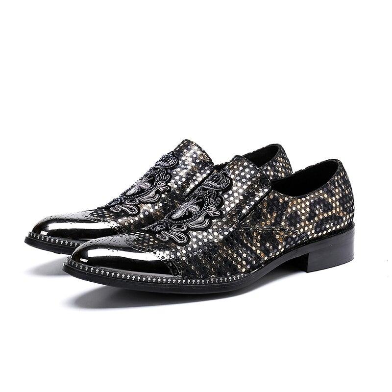 Mocasines Picture As 46 Hombres De Grandes Los Bordado Moda Zapatos Vestir Yardas Hombre Oxfords Cuero Casuales r4rTZxqw6C