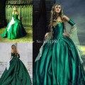 Gothic Masquerade Vestido de Noche de La Vendimia Vestidos de Robe De Bal Longue Oro Apliques Fuera Del Hombro Vestidos de Fiesta Abendkleider 2017