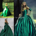 Vestido de Noite gótico Do Vintage Masquerade Vestidos de Robe De Bal Longue Ouro Apliques Fora Do Ombro Vestidos de Festa Abendkleider 2017
