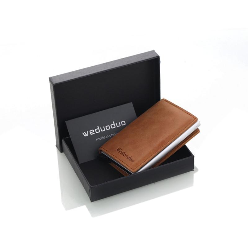 Weduoduo Men Blocking Rfid Wallet Mini Genuine Leather Business ...
