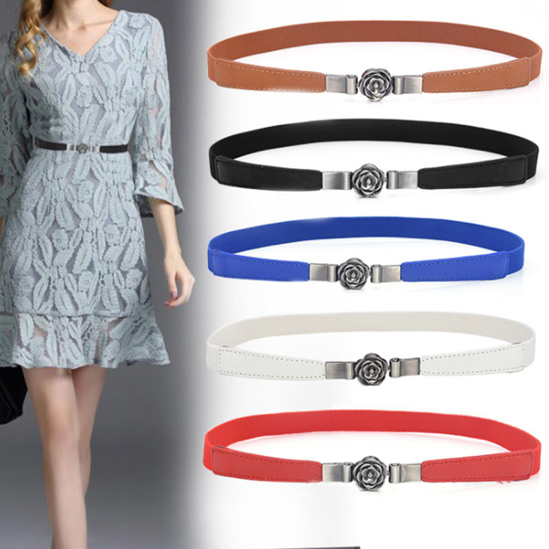 Korean Flower Buckle Thin Waist Seal Female With Skirt Elastic Elastic Belt Narrow Hook With Clothes Decoration Fine Simple Wild